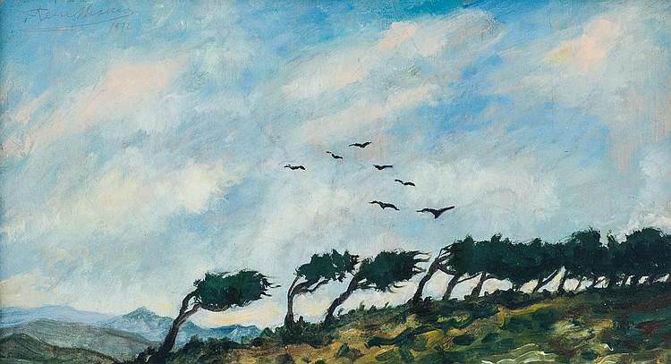 REMO BRANCA - Sardinian landscape, 1972