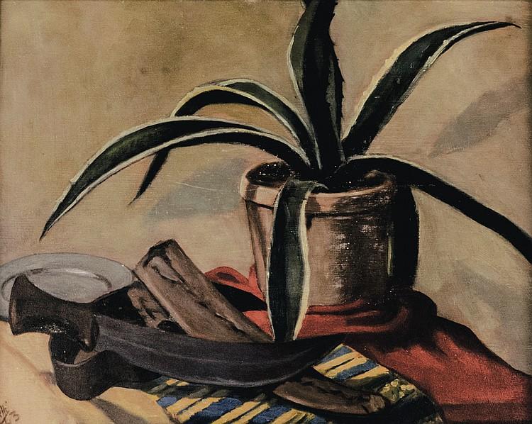 ROBERTO MELLI - Still life with vase and scimitar, 1943