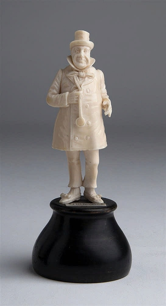 """""""Wilkins Micawber"""". A carved ivory figure - England, late 19th Century"""