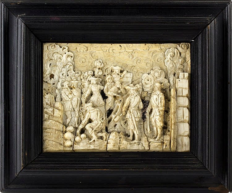 A carved bone low-relief depicting a war scene - France, 19th Century