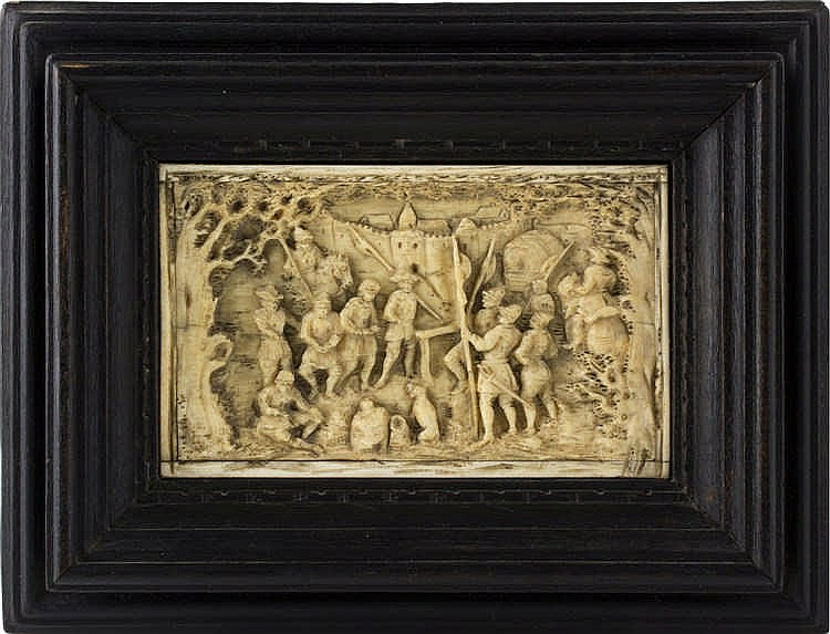 A carved bone low-relief depicting a war scene - Germany 19th Century
