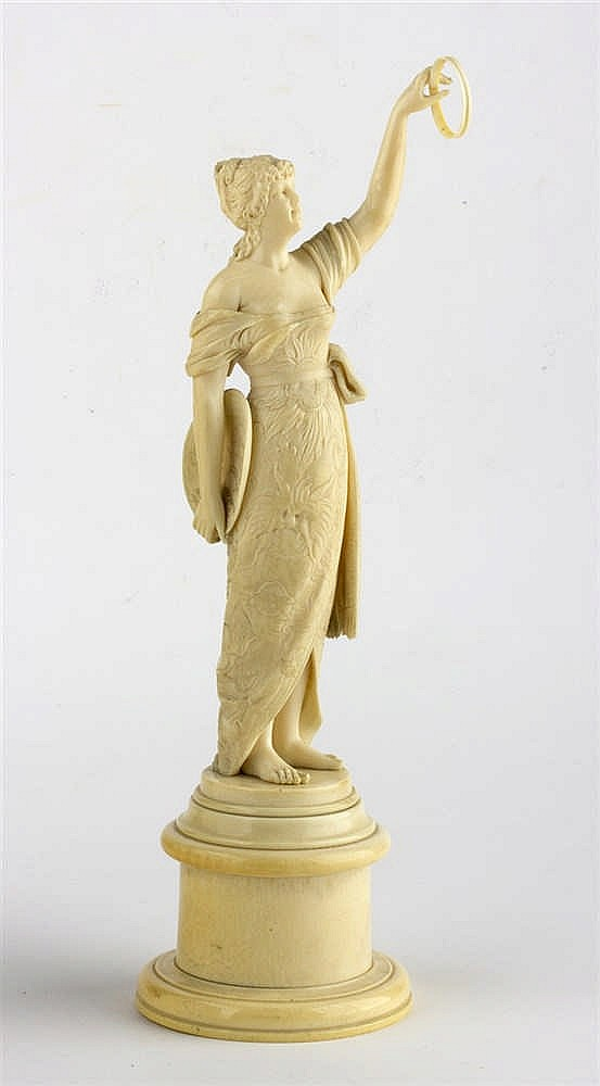 A carved ivory figure of a young lady - France, late 19th / early 20th Century (pre-1947)