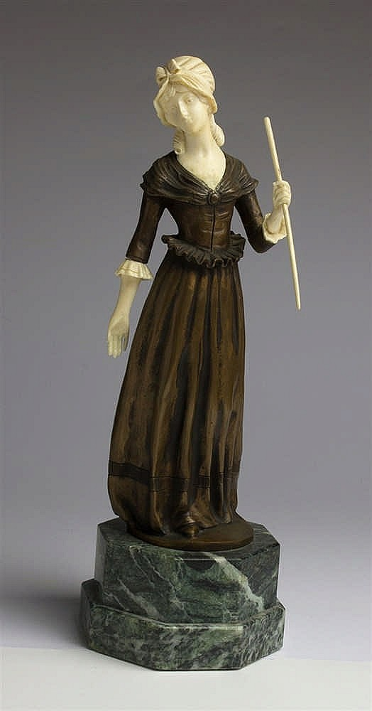 A gilt bronze and ivory figure of a maiden - France, late 19th / early 20th Century (pre-1947)