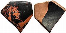 A fragment of a red-figure Attic vase attributable to Epiktetos  ca. 530 – 470 BC