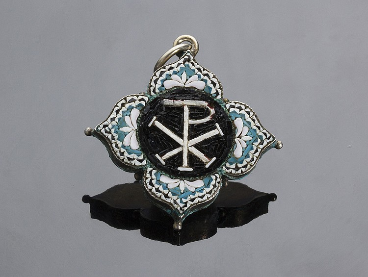 ANTIQUE NOUVEAU MICROMOSAIC PAX PEACE CROSS PENDENT WITH SILVER MOUNTING - ITALY, LATE 19TH CENTURY