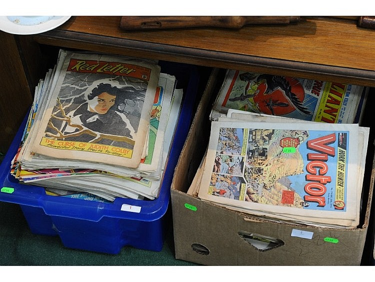 Two boxes of comics and periodicals for boys and