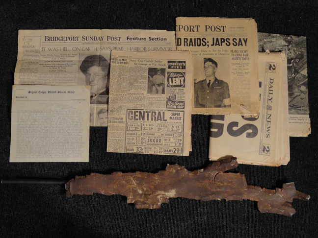 Rare, historic WWII Pearl Harbor attack Survivor shrapnel, letter home, and hometown newspaper interview.