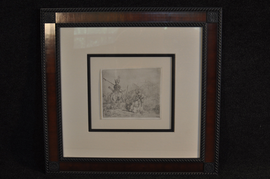 "Exceptionally rare Rembrandt van Rijn ""The Baptism of the Eunuch"" etching c.1830 second state expertly framed"