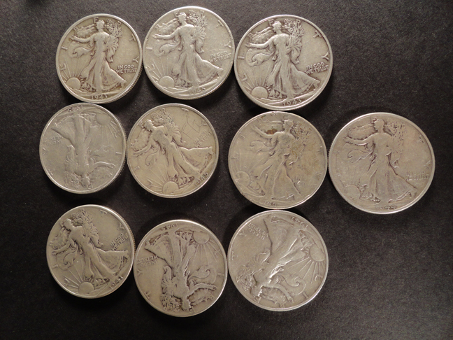 Lot of 10 1940s Silver Walking Liberty Half Dollars US COINS
