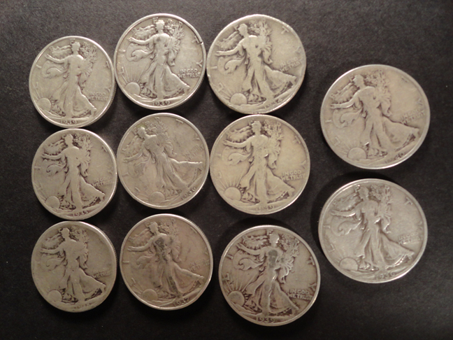 Lot of 11 Silver Walking Liberty Half Dollars 1930s 1920 1918 US Coin