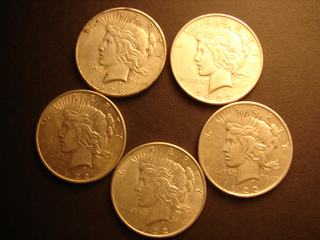 Lot of 5 Peace Silver Dollars VF to AU 1922-P 1926-S US Coins