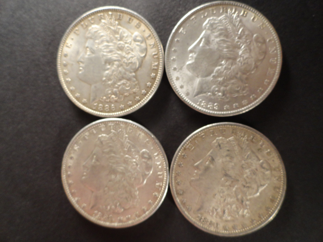 Lot of 4 Morgan Silver Dollars XF EF 1889 1880-O 1886 US Coins