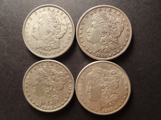 Lot of 4 Morgan Silver Dollars XF EF 1883 1889 1884 1921-D US Coins