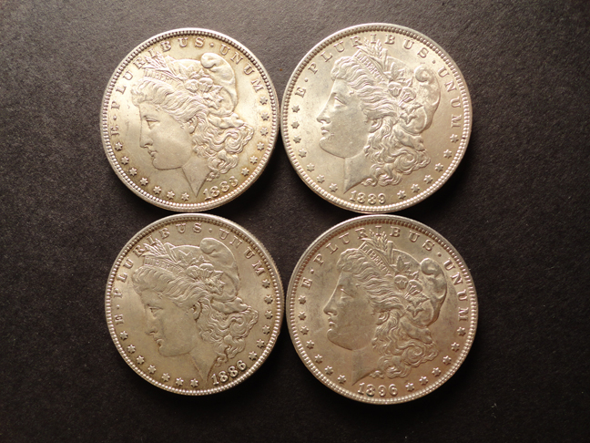 Lot of 4 Morgan Silver Dollars XF EF 1896 1883 1886 1889 US Coins
