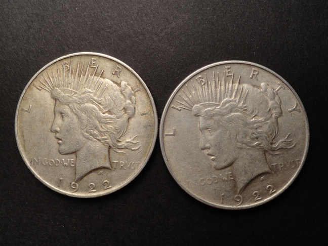 Lot of 2 Peace Silver Dollars 1922-P US COINS