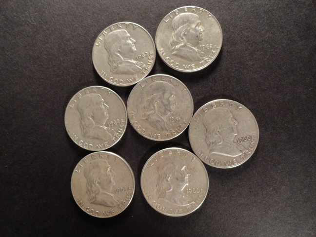 Lot of 7 Franklin Silver Half Dollars 1960s US COINS