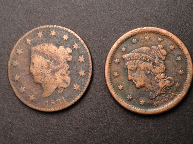 Lot of 2 Large Cents 1831 & 1855 US COINS