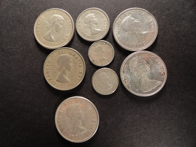 Lot of 8 All Silver Canada Coins c1953 to 1966