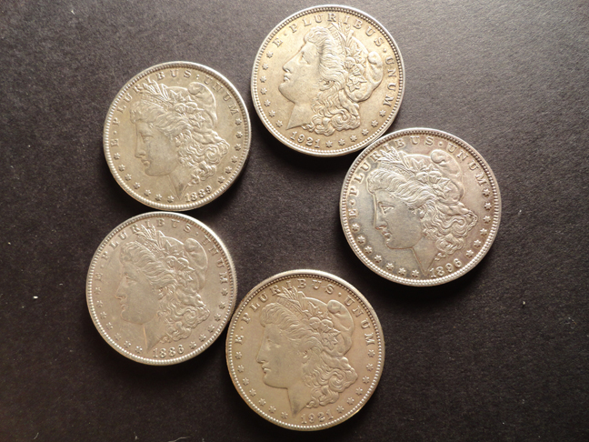 Lot of 5 Morgan Silver Dollars XF EF 1921, 1921-S, 1886, 1889, 1896