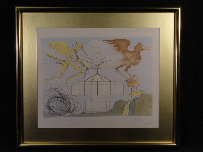 Salvador Dali -Invention of the Airplane- Original Etching Hand Signed and Numbered with COA