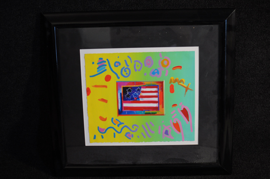 Peter Max Lithograph with Hand Painted Embellishments Signed Original Pop Art Heart With Flag 1of1?