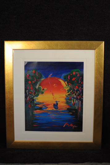 Peter Max Sunset Lithograph with Hand Painted Embellishments Signed Original Pop Art 1of1?