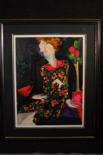Linda Le Kinff Woman sitting with man lithograph hand signed and numbered