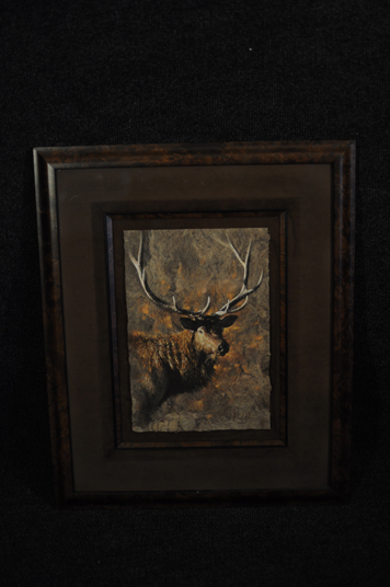 Collin Bogle Elk original painting 1998 on birch bark mixed media