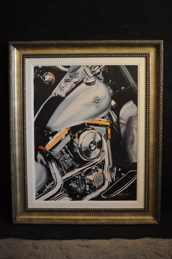 Scott Jacobs Fat Boy Lithograph hand signed and numbered Harley Davidson Motorcycle
