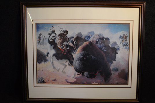WR Reighs 1947 print Western Art Buffalo hunt