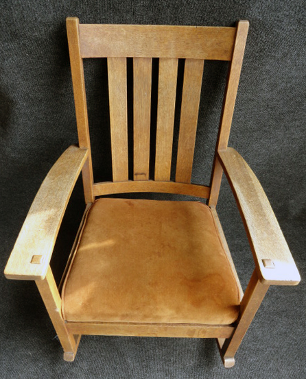 L&JG Stickley Handcraft series rocker rocking chair c1907-12 original label mortis and tenon