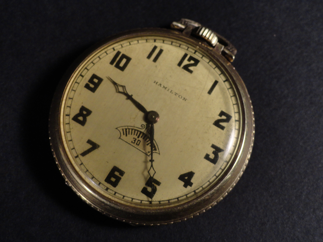 Hamilton Pocket Watch 14k Gold Filled Size 12 1939 Rare 2nd Movement