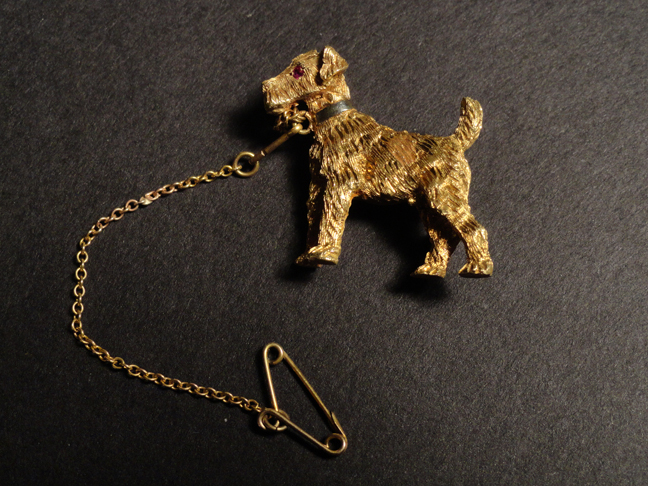 Really Nice Solid 18k Gold Dog/Terrier Brooch 9.92 Grams Total
