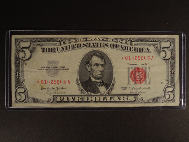 5 Dollar Star Note 1963 Red Seal XF to AU