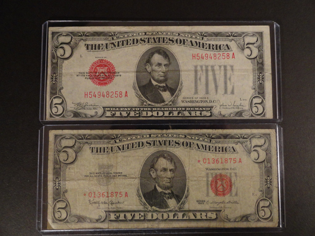 Lot of Two 5 Dollar 1963 Star Note and 1928 E Red Seal VF to XF