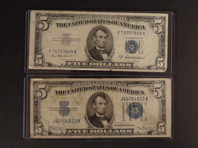 Lot of Two 5 Dollar Silver Certificates 1953A 1934A Blue Seal VF F
