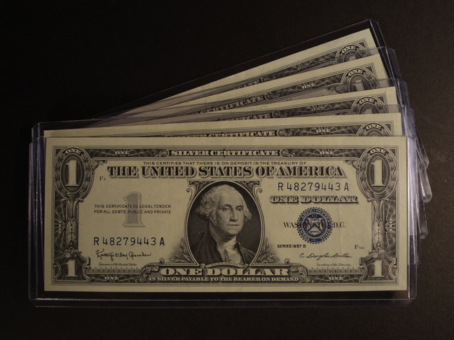 Lot of Five 1 Dollar Silver Certificates 1957B UNC.