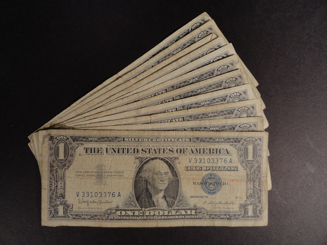 Lot of Eleven 1 Dollar Silver Certificates 1957B Circulated