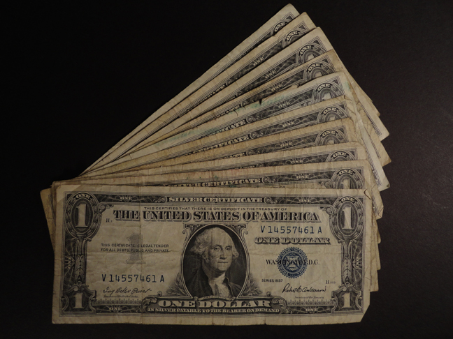Lot of Ten 1 Dollar Silver Certificates 1957B Circulated