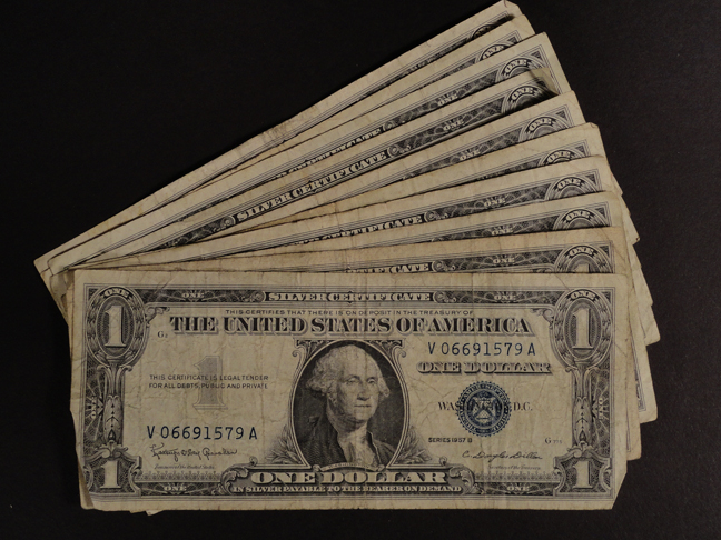 Lot of Eleven 1 Dollar Silver Certificates 1957 B&A Circulated