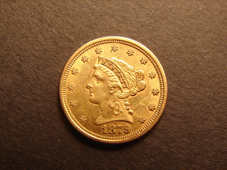 Gold Coin Liberty Head Genuine 1/4 Eagle 1879 2-1/2 Dollar Excellent Condition US COINS