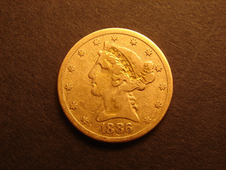Gold Coin 1886 S Genuine Liberty Head Five Dollar Half Eagle US COINS