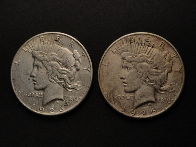 Lot of 2 Silver Peace Dollars 1926 S US Coins