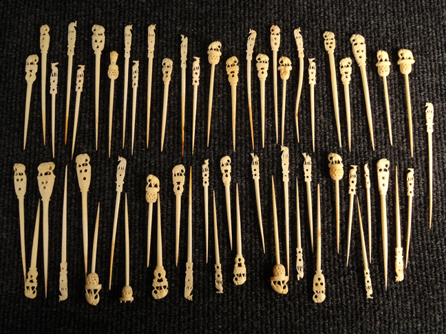 Lot of 56 Antique Pre-Ban Ivory Hand Carved Tooth/Food Picks