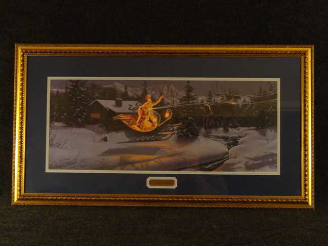 Stephen Lyman -Moonlit Flight On Christmas Night- Original Lithograph Hand Signed and Numbered