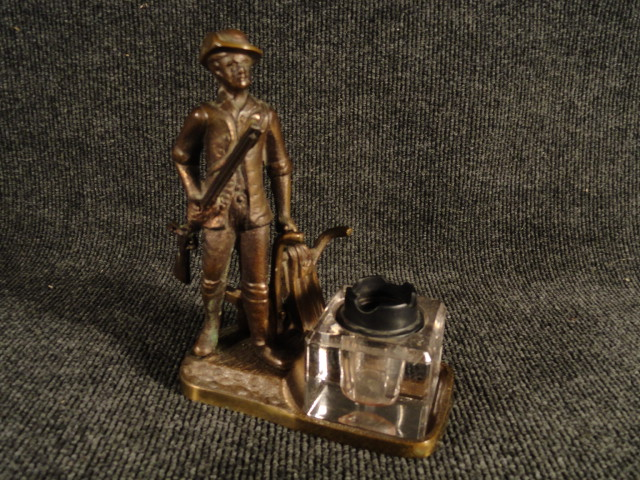 Antique Minuteman Bronze Inkwell 8 Inches Tall