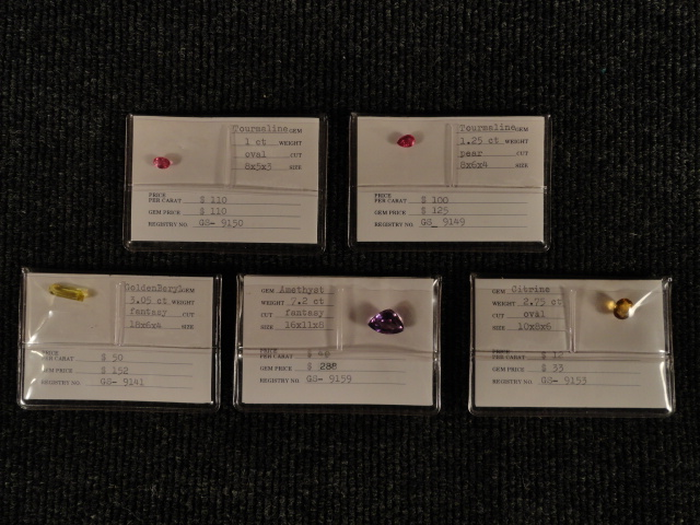 Lot of 5 Gemstones Tourmaline, Amethyst, Citrine, Golden Beryl
