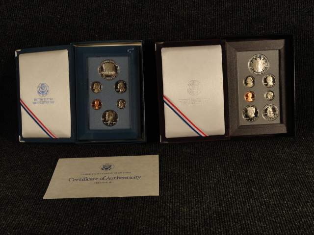 Prestige Proof Set 1987-S with COA & 1989-S US Coins