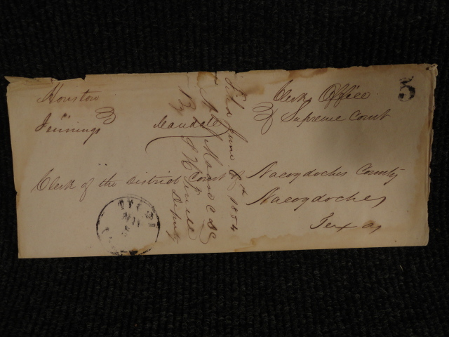 1854 Stampless Cover from Tyler Texas to Nacogdoches Sam Houston?