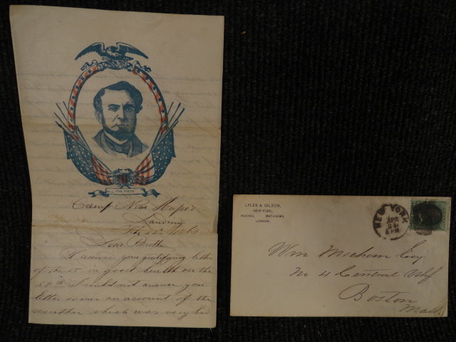 1863 Civil War Cover and Patriotic Letter Camp Near Hope's Landing
